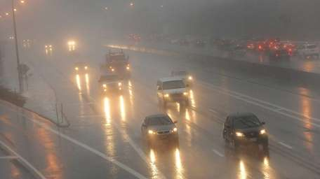 Wet road conditions on the Long Island Expressway