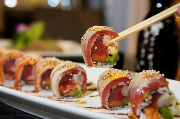 "The ""out of control roll"" with yellowtail tuna,"
