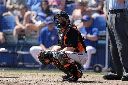 Baltimore Orioles catcher Taylor Teagarden in action during