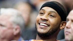 Carmelo Anthony looks on during the second half