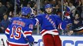 Rick Nash celebrates his first-period goal against the
