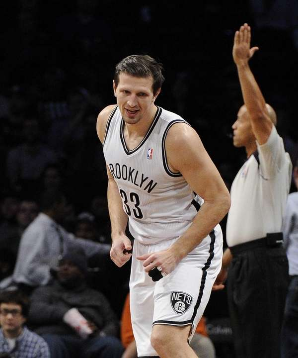 Mirza Teletovic reacts after scoring a three-pointer in