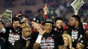 Florida State quarterback Jameis Winston celebrates after defeating