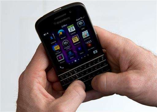 A BlackBerry Q10 smartphone is shown in Toronto.