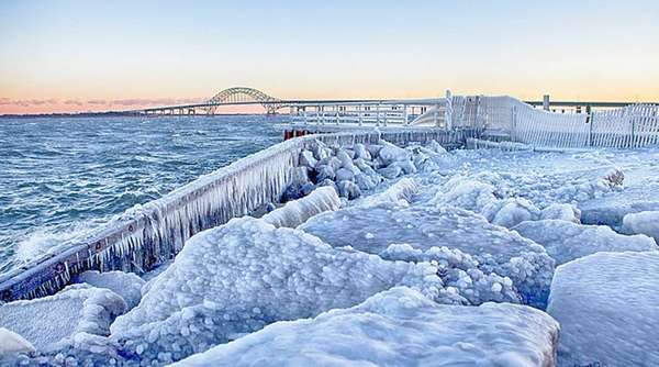 The frozen South Shore of Long Island near