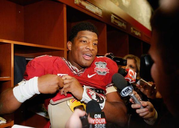 Florida State quarterback Jameis Winston celebrates in the