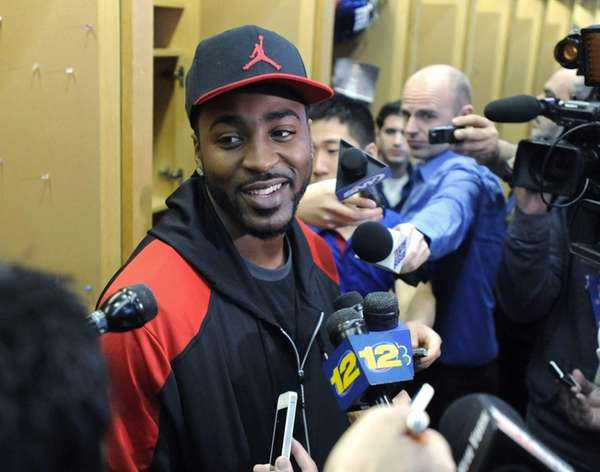 Hakeem Nicks speaks to the media in East