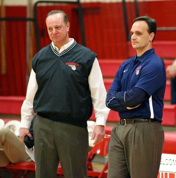 Newfield coach Anthony Agostino, left, and Smithtown West