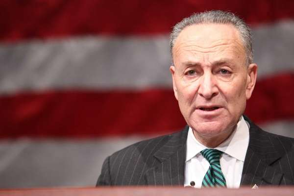 Sen. Charles Schumer speaks before Nassau County Executive