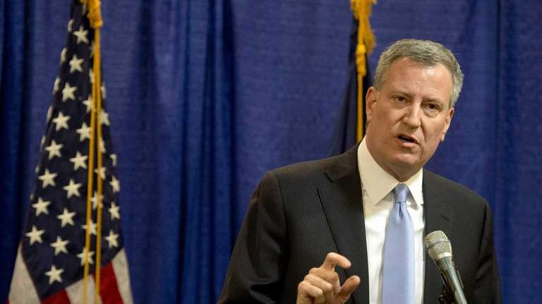 New York City Mayor Bill de Blasio talks