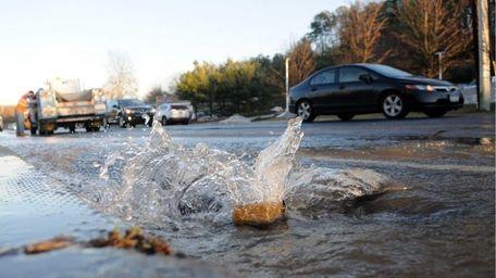 Water flooded store parking lots along Jericho Turnpike