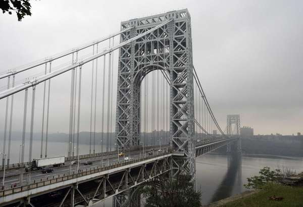Traffic slowly moves across the George Washington Bridge