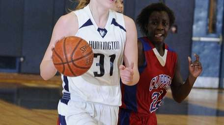 Huntington forward Heather Forster controls the ball against