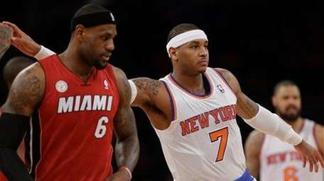 LeBron James and Carmelo Anthony are shown before