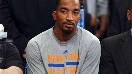 J.R. Smith of the Knicks sits on the