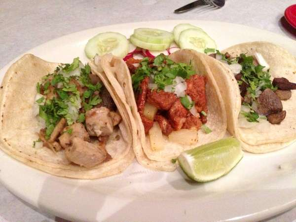 Three street tacos at Senor Nacho in Great