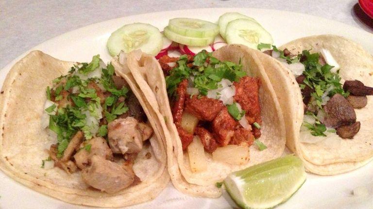 Three street tacos at Senor Nacho in Great