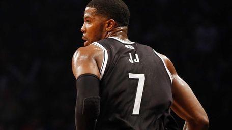 Joe Johnson of the Nets runs back up