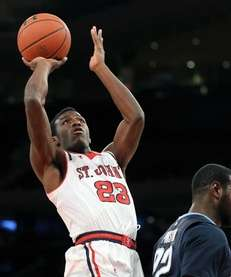 St. John's Rysheed Jordan takes an inside shot.