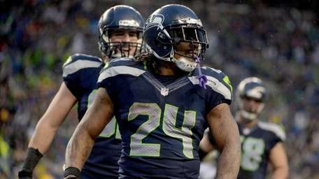 Running back Marshawn Lynch of the Seattle Seahawks