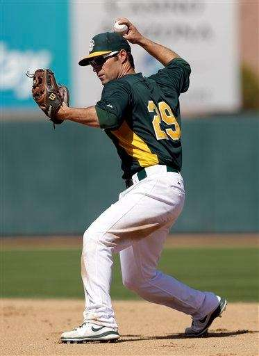 Oakland Athletics infielder Scott Sizemore throws to first