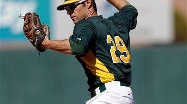 Oakland Athletics infielder Scott Sizemore throws to first