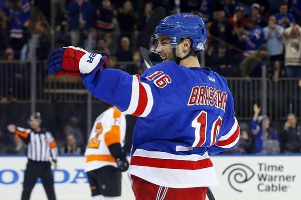 Rangers' Derick Brassard celebrates his first-period goal against