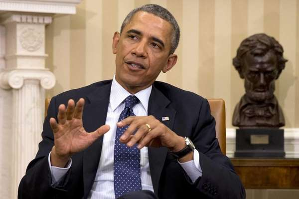 President Barack Obama speaks during a meeting with