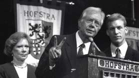 Former President Jimmy Carter speaks to high school