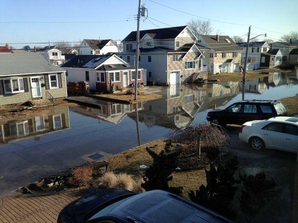 Flooding on West Harrison Avenue in Babylon, that