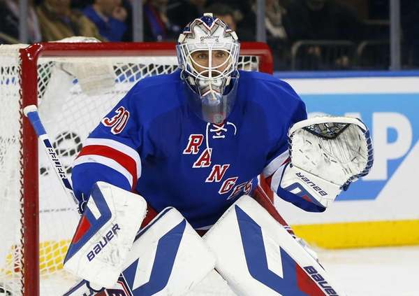 Henrik Lundqvist defends his net in the second