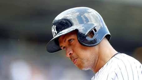 Alex Rodriguez looks on in the sixth inning