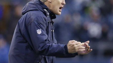 Seattle Seahawks coach Pete Carroll yells on the