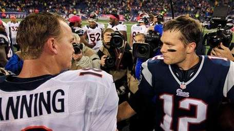 Peyton Manning and Tom Brady meet after the