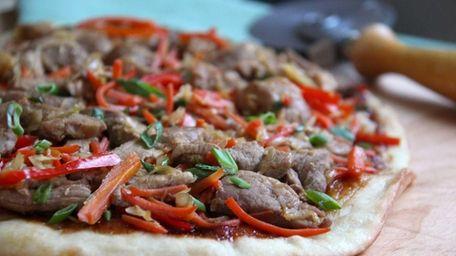 Mu shu pork pizza. (January 2014)
