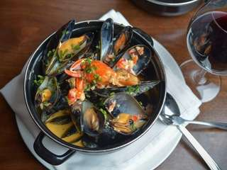 """Acacia's Best"" mussel pot includes lobster, black truffles,"