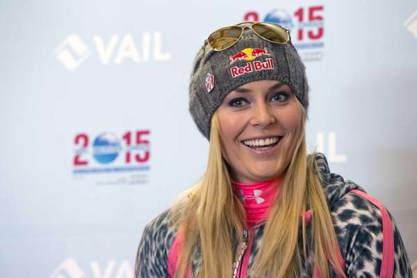 Lindsey Vonn speaks at a news conference at