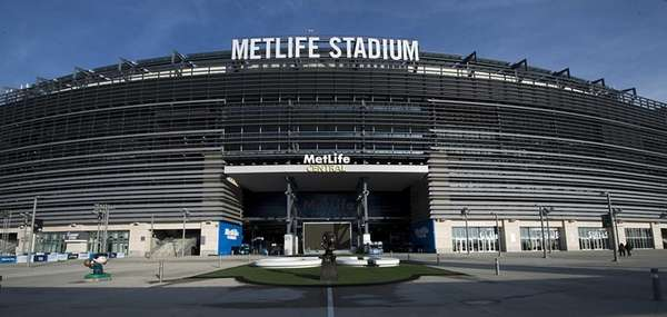 An exterior view of MetLife Stadium's entrance in