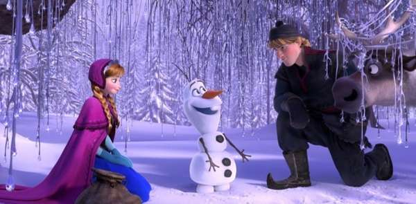 Anna, voiced by Kristen Bell, Olaf, voiced by