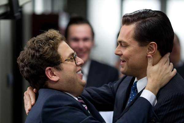 Jonah Hill, left, and Leonardo DiCaprio both earned
