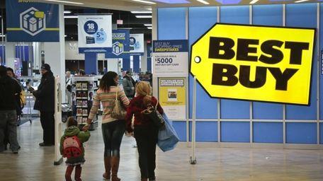 Shoppers in a Best Buy in Manhattan on