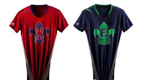 The West and East sleeved team jerseys to