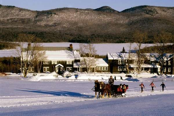 Sleigh riding at Vermont's Mountain Top Inn.