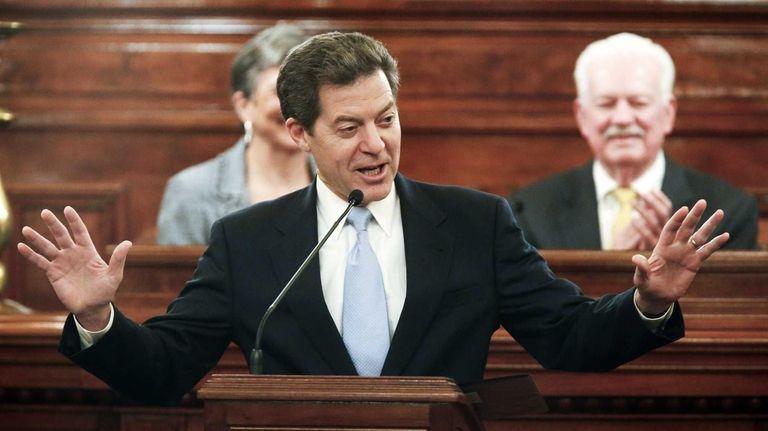 Kansas Gov. Sam Brownback delivers his State of