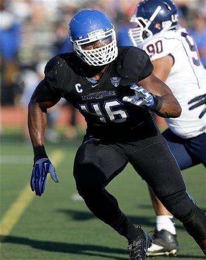 Buffalo linebacker Khalil Mack runs on the field