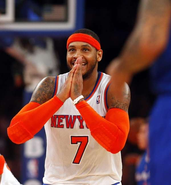 Carmelo Anthony after hitting a three point shot.