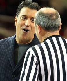 St. John's head coach Steve Lavin talks to