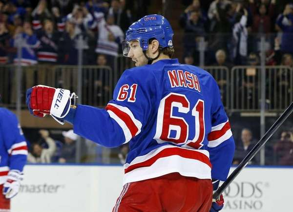 The Rangers' Rick Nash celebrates his second-period goal