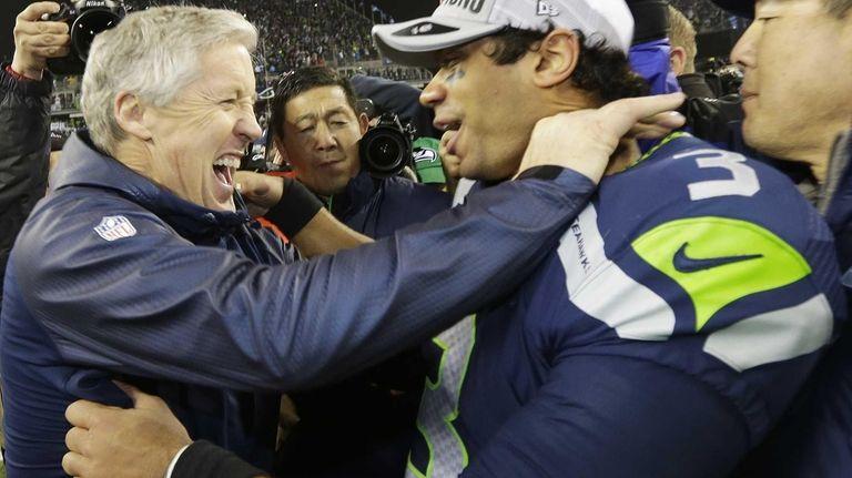 Seattle Seahawks head coach Pete Carroll celebrates with