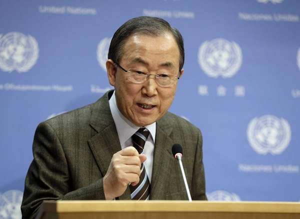 United Nations Secretary General Ban Ki-moon addresses the